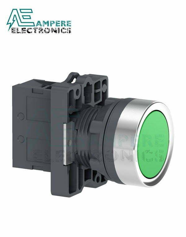 XA2EA31 Round Green Push-Button – Flush Spring Return – 1NO, Schneider Electric
