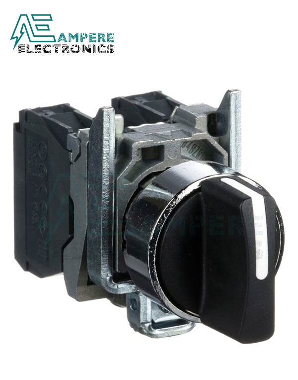 XB4BD33 Selector Switch, 3 Position, 600V, 10A, Screw Clamp, Schneider Electric