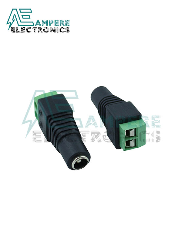 Female DC Power Plug to 2-Pin Screw Terminal