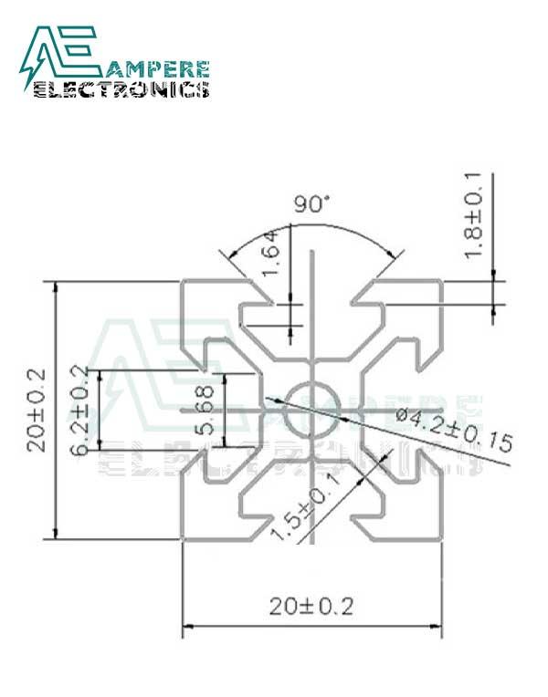 2020 V-Slot Aluminum Profile Extrusion (1M - Silver Anodized)