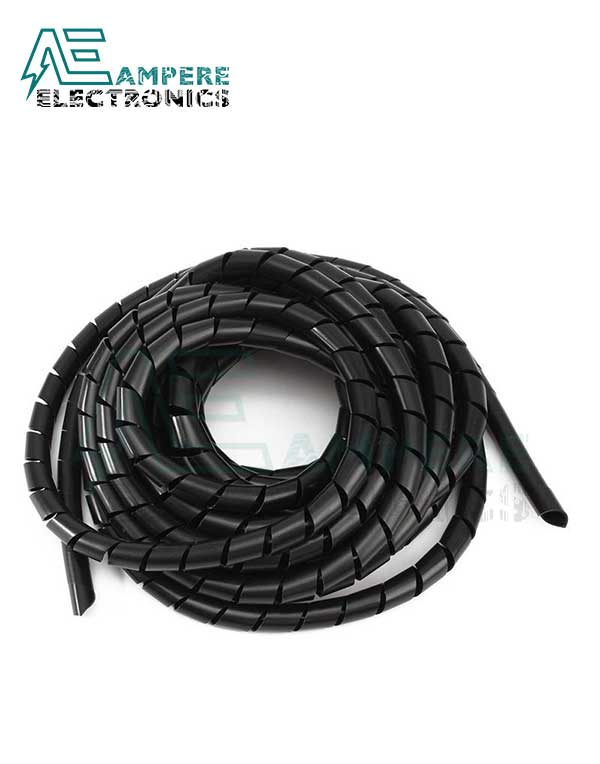 8mm Black Cable Spiral Wrapping – 10 Meters Roll
