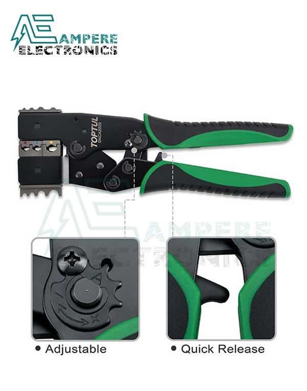 DKCA2222 Quick Ratchet Crimping Pliers 2 In 1 Interchangeable - TOPTUL