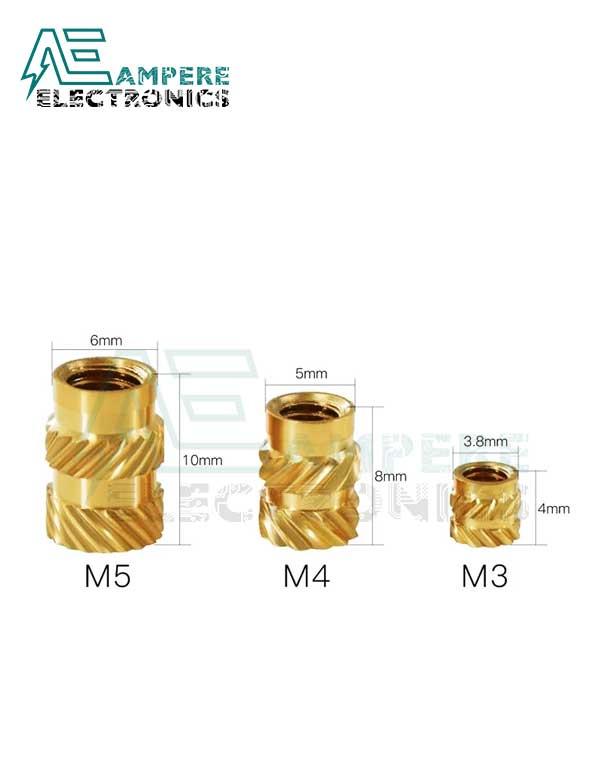 M4 Knurled Brass Threaded Insert Nut